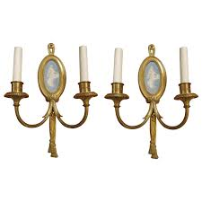 Wall Lighting Sconces 1900 Pair Of Sterling Gilded Bronze Louis Xvi Two Candle Sconces