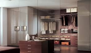 contemporary walk in wardrobe glass lacquered wood open besana