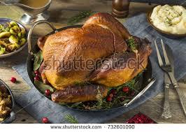 turkey thanksgiving dinner mashed potatoes stock photo