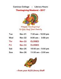 thanksgiving library hours andrew l bouwhuis library