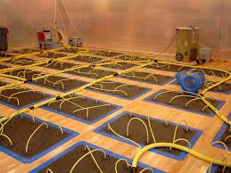 water damaged hardwood floor drying photos