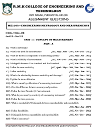 me2304 engineering metrology and measurements question bank for