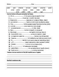 present tense stem changing verb practice worksheet spanish tpt