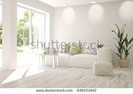 Sofa Interior Design White Living Room Interior Sofa Winter Stock Illustration