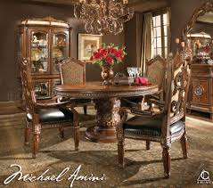 Dining Room Table Sets Cheap Michael Amini 5pc Villa Valencia Round Oval Dining Table Set U0026 4