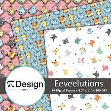 anime wrapping paper eeveelutions 8 5 x11 digital paper 10 pack