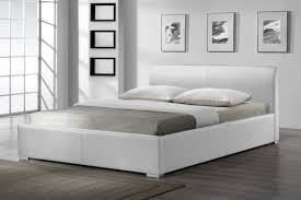 White Frame Beds White Leather Bed Frame With Headboard And Stainless Steel Legs On