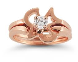 Rose Gold Wedding Ring Sets by Christian Dove Diamond Engagement And Wedding Ring Set In 14k Rose