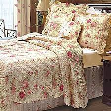 amazon com chic shabby romantic rose bedding quilt set queen
