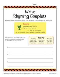 write rhyming couplets poetry worksheets