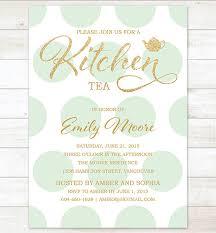 Kitchen Tea Invites Ideas Gold Mint Kitchen Tea Invitation Mint Polka Dots Gold Glitter
