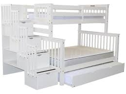 White Bunk Bed With Trundle Bunk Beds Twin Over Full Stairway White Full Trundle 998