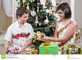 giving christmas gifts royalty free stock image image 35237766