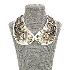 beaded collar necklace images Fashion jewellery short resin gold grey white beaded collar JPG