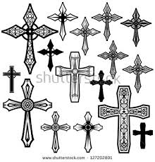 cross icons set decorated crosses signs stock illustration
