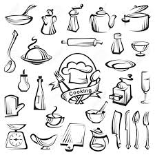 kitchen tools and cooking design elements royalty free cliparts