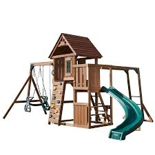 Playground Flooring Lowes by Shop Swing N Slide Cedar Brook Complete Ready To Assemble Kit Wood