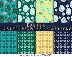 easter set seamless patterns easter bunny stock vector 369059135