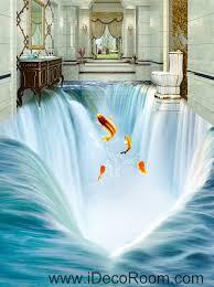 Bathroom Wall Murals Uk Waterfall Fish Jumping 00034 Floor Decals 3d Wallpaper Wall Mural