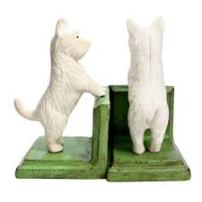 westie cast iron bookends heavy west highland white terrier dog