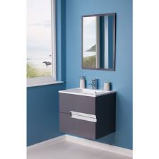 cubic grey 605mm wall hung double drawer vanity unit basin with