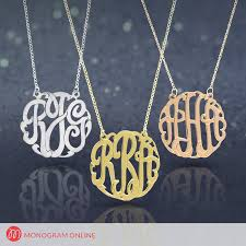 Monogram Necklace Traditional Silver Monogram Necklace With Split Chain