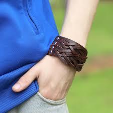 braid hand bracelet images Punk men 39 s wide leather bracelet vintage braided leather ropes jpg