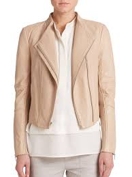 lightweight motorcycle jacket vince leather moto jacket in natural lyst