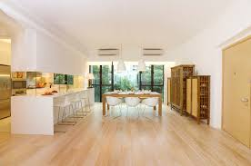 white washed wood flooring dining room contemporary with breakfast