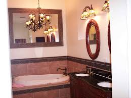 accent tile framed with chair rail in shower and vanity bathroom