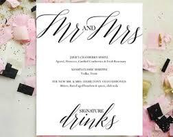 wedding drink menu template wedding bar menu etsy