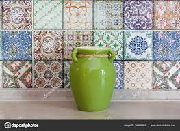 colorful ceramic tiles wall vase on the background decoration