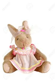 stuffed bunnies for easter stuffed easter bunny rabbit in a pink dress stock photo picture