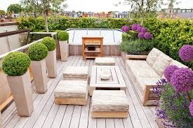 wooden garden planters ideas deck contemporary with potted plants