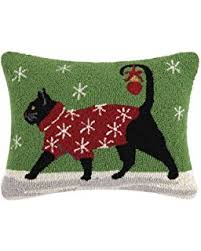 black cat with lights wool hooked throw