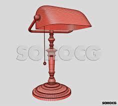 Traditional Bankers Desk Lamp Vintage Bankers Desk Lamp 3d Model Green Glass Shade Sohocg