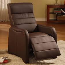bedroom cherry finished leather recliner and ottoman with rounded