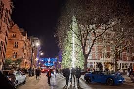 porsche with christmas tree mount street christmas lights 2016 photos mount street mayfair