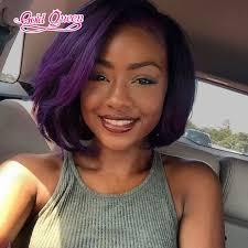 short bobs with bohemian peruvian hair hot brazilian virgin hair straight purple lace front wig 10inch