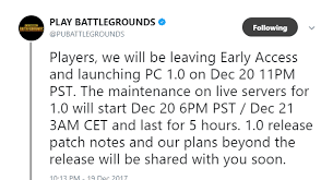 pubg 1 0 patch notes pubg 1 0 release time christian crew gaming