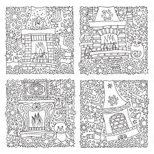 vector set of fantasy illustration fairy tale house fire place