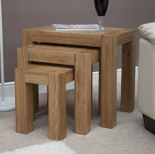 Solid Oak Furniture Trend Solid Oak Nest Of 3 Tables Oak Furniture Uk