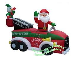 amazon com christmas inflatable santa on firetruck patio lawn
