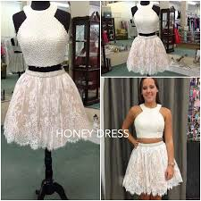 honey clothing honey dress white lace homecoming dress two cocktail dress