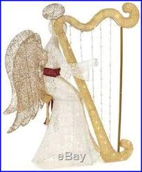 lighted white pvc sitting angel u0026 harp indoor outdoor christmas