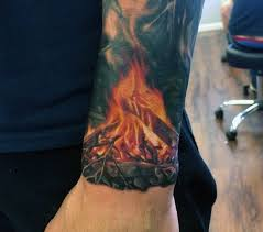 campfire badass quarter sleeve wrist tattoos for guys full and