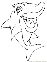 cartoon shark smiling coloring free shark coloring pages