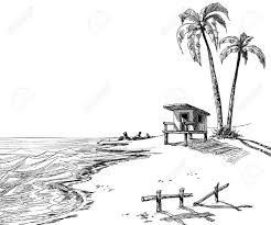 summer beach sketch with palm trees and lifeguard stand royalty