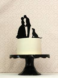 wedding cake topper with dog with dog custom silhouette wedding cake topper with your dog or