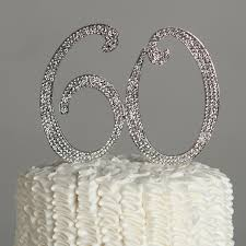 silver party favors 60 cake topper for 60th birthday or anniversary silver